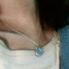 Silver pendant blue chalcedony P1008