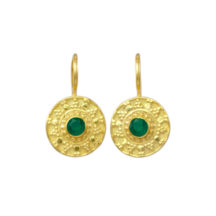 Small Etruscan Green Onyx Coin Earring – E8326