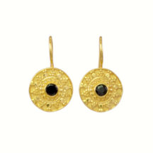 Etruscan Black Onyx Coin Earring – E8326