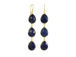 Earring Three Drops Lapis Lazuli In Fine Setting – E1362
