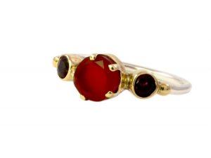 Skinny Cute Ring Carnelian And Garnet – R1655