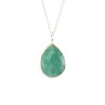 Silver Pendant Facet Cut Jade – P1008