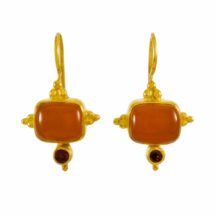 Asian Etruscan Earrings Carnelian And Garnet – E1432
