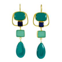 Long Green Onyx And Chalcedony Art Nouveau Earrings – E1216