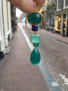 Long Earrings Green Onyx And Chalcedony E1216