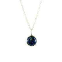 Silver Pendant Lapis Lazuli Round Drop – P1005