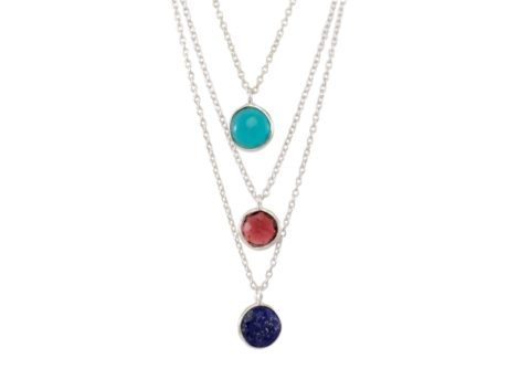 Silver necklace with round pendant - N1336