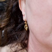 Three Dots On Hook Citrine Earrings - E1044