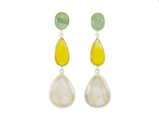 Stud earrings jade, yellow onyx and rose quartz E1323