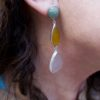Stud earrings jade, yellow onyx and rose quartz E1323