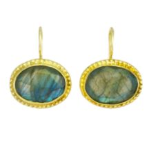 Oval Earrings With Facet Labradorite – E1193