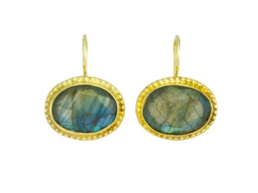Oval earrings with facet labradorite - E1193