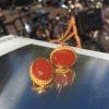 Oval earrings with facet carnelian - E1193